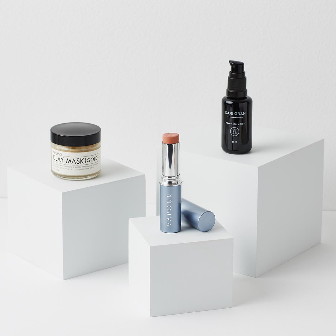 Fig + Yarrow Gold Clay Mask, Vapour Organic Aura Multi-Use Blush in Spark, Kari Gran Three Six Five SPF 28 review hellolindasau linda sau