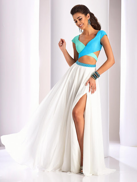 A-line Cap Sleeve V-neck Slit Front Chiffon Two Pieces Prom Dress with Beaded Waist