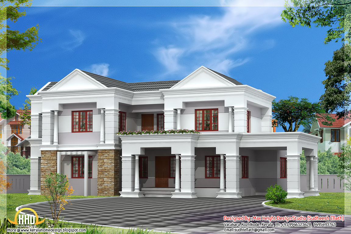 Sloping roof indian house elevation 3300 sq ft kerala for Sloped roof house plans in india