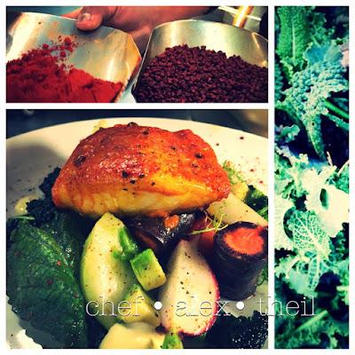 """1502,50 chilean sea bass """"zarandeado"""", with crispy vegetable salad & citrus aioli schwarzer seehecht, mit mexikanischer würze, knackiger gemüse salat & zitrus aioli latin inspired market cuisine picture © chef alex theil"""