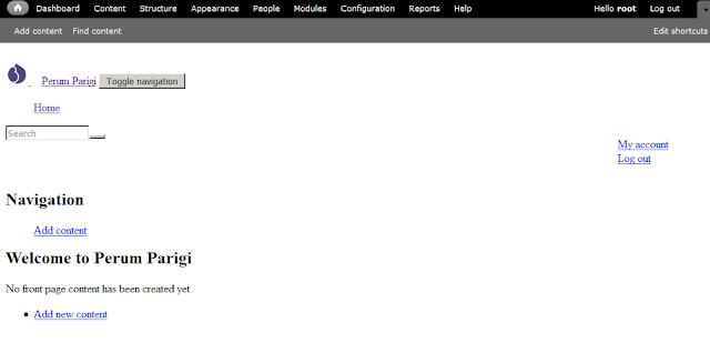 Tampilan site drupal bootstrap yang tidak terhubung ke internet