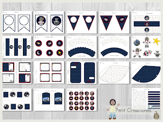 Printable Birthday PARTY KIT Outerspace, Party pack, DIY, Instant download, Birthday Decorations, Gift box, Party idea