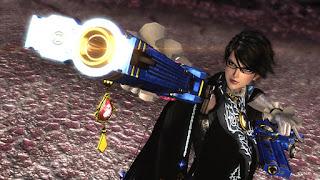 Captura de Nintendo Wii U de Bayonetta 2. La protagonista luce su lunar facial y un futurista pistola