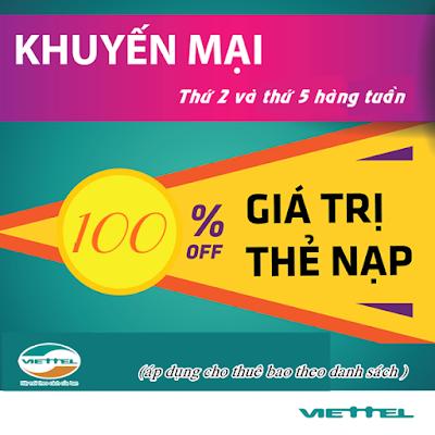 Viettel triển khai khuyến mãi 100% định kỳ thứ 2, 5 hàng tuần