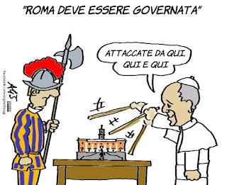 papa francesco, virginia raggi, vaticano, campidoglio, satira, vignetta