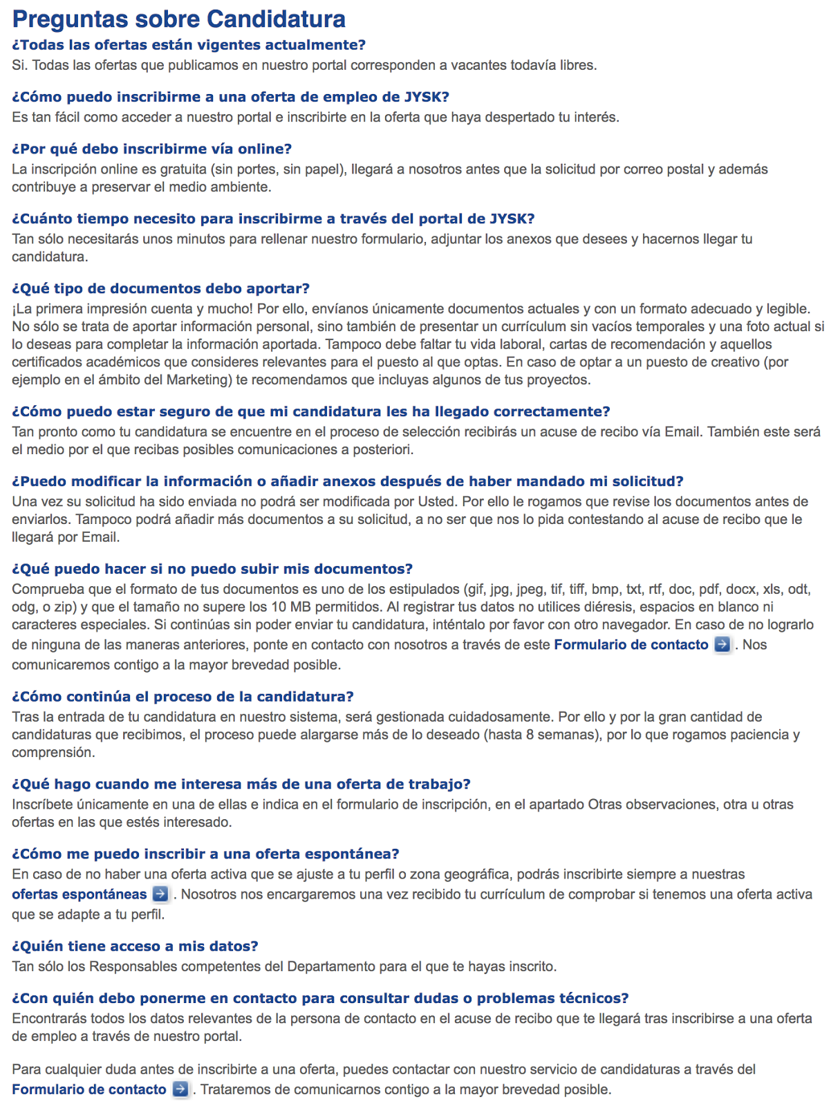 Ofertas de Empleo en España: Cómo enviar curriculum - Jysk - Toda España