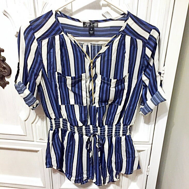 J for Justify striped zipper blouse