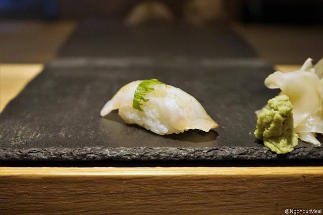 Hirame Sushi with Shiso at DOMODOMO in New York City
