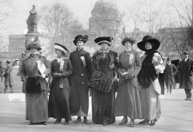 March 3, 1913 photo at the Suffrage Parade, showing marchers (left to right) Mrs. Russell McLennan, Mrs. Althea Taft, Mrs. Lew Bridges, Mrs. Richard Coke Burleson, Alberta Hill and Miss F. Ragsdale.
