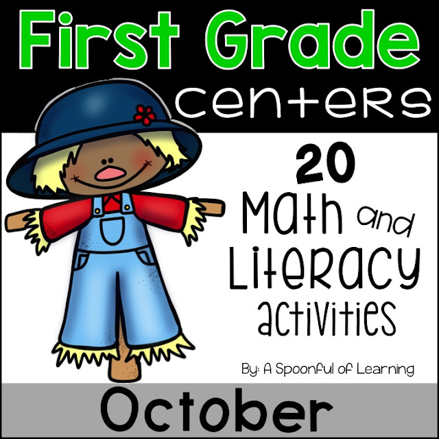 October Centers - 20  Math and Literacy Activities