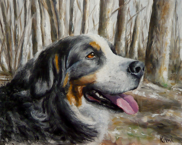 Winter walk, a Bernese Mountain dog, oil painting