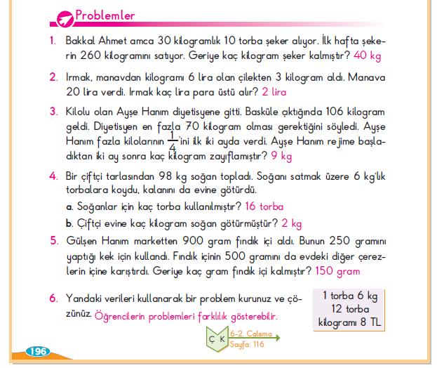 3. Sınıf Berkay Yayınları Matematik Ders Kitabı 196.Sayfa Cevapları Kilogram ve Gram