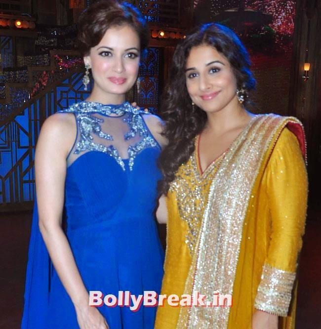 Dia Mirza in blue punjabi suit and Vidya Balan in yellow punjabi suit, Vidya Balan & Dia Mirza in Punjabi Suits Promote Bobby Jasoos on Entertainment Ke Liye Kuch Bhi Karega
