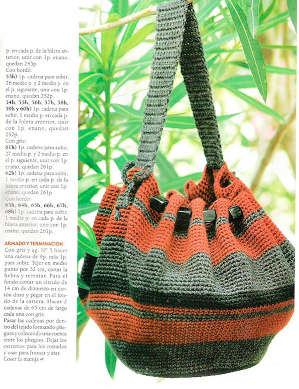 patrones gratis, bolso, bolsa circular, ganchillo, crochet