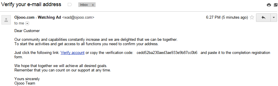 Ojooo wad E-mail verification