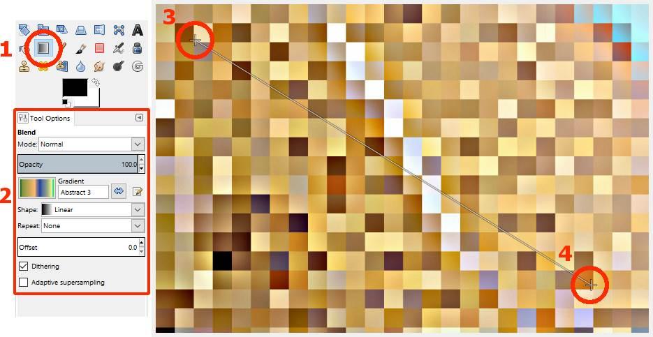 Meningkatkan warna gambar abstrak dengan warna gradasi