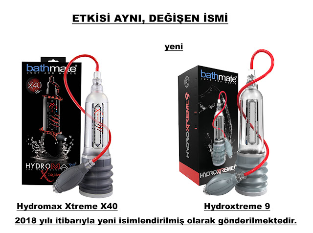 Bathmate Hydromax Xtreme X40 adı artık Bathmate Hydroxtreme 9 oldu.