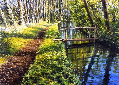 07-Little-Bridge-Joe-Francis-Dowden-Photo-Realistic-Watercolour-Paintings-www-designstack-co