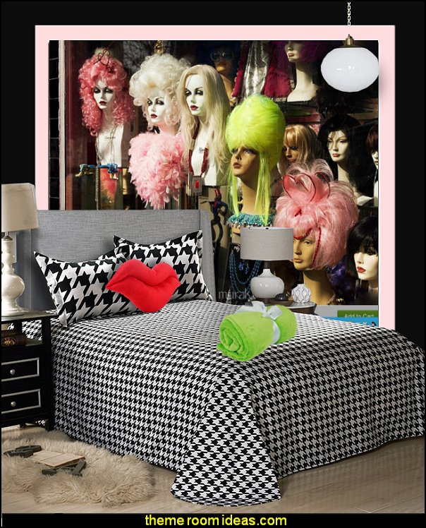 houndstooth bedding fashionista wall mural Fashion Wigs wall mural beauty salon theme bedrooms