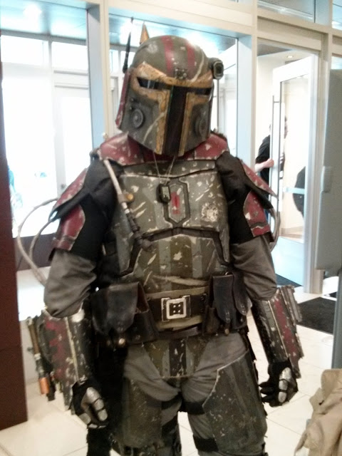 Someone wearing Mandalorian armor