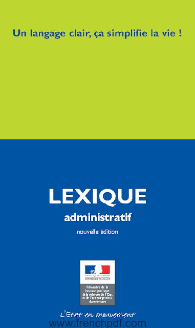 Télécharger livre: Lexique administratif un langage clair ça simplifie la vie pdf