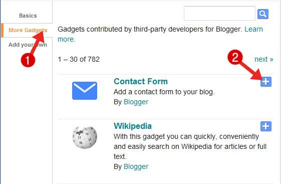 blogger blog ke liye contact form select kare