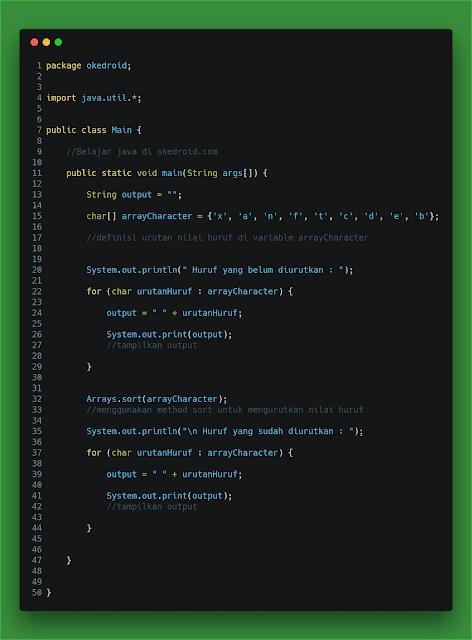 Contoh Code Program Mengurutkan (Sort) Huruf Acak di Java
