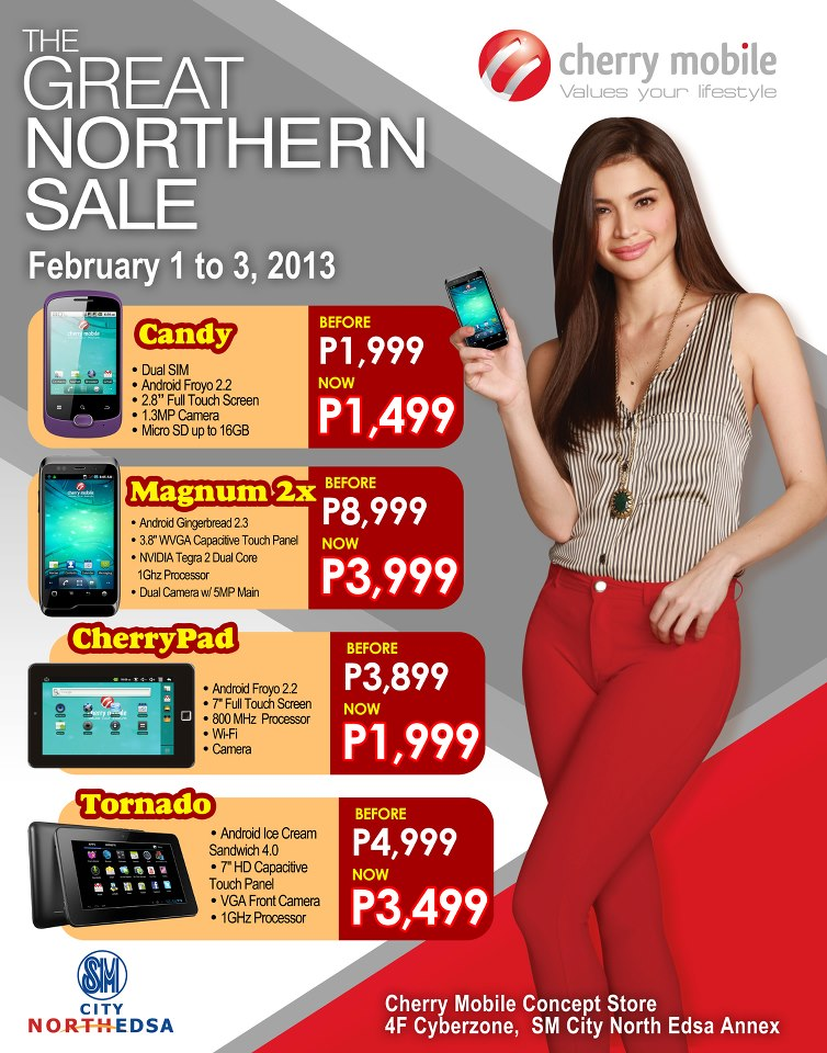 Cherry Mobile Candy, Magnum 2X, Cherrypad and Tornado Tablet now on Sale at SM North Edsa