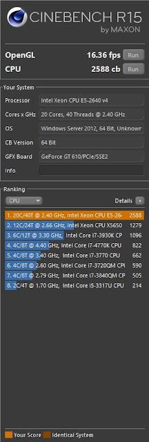 Cinebench Dual Xeon E5-2640v4