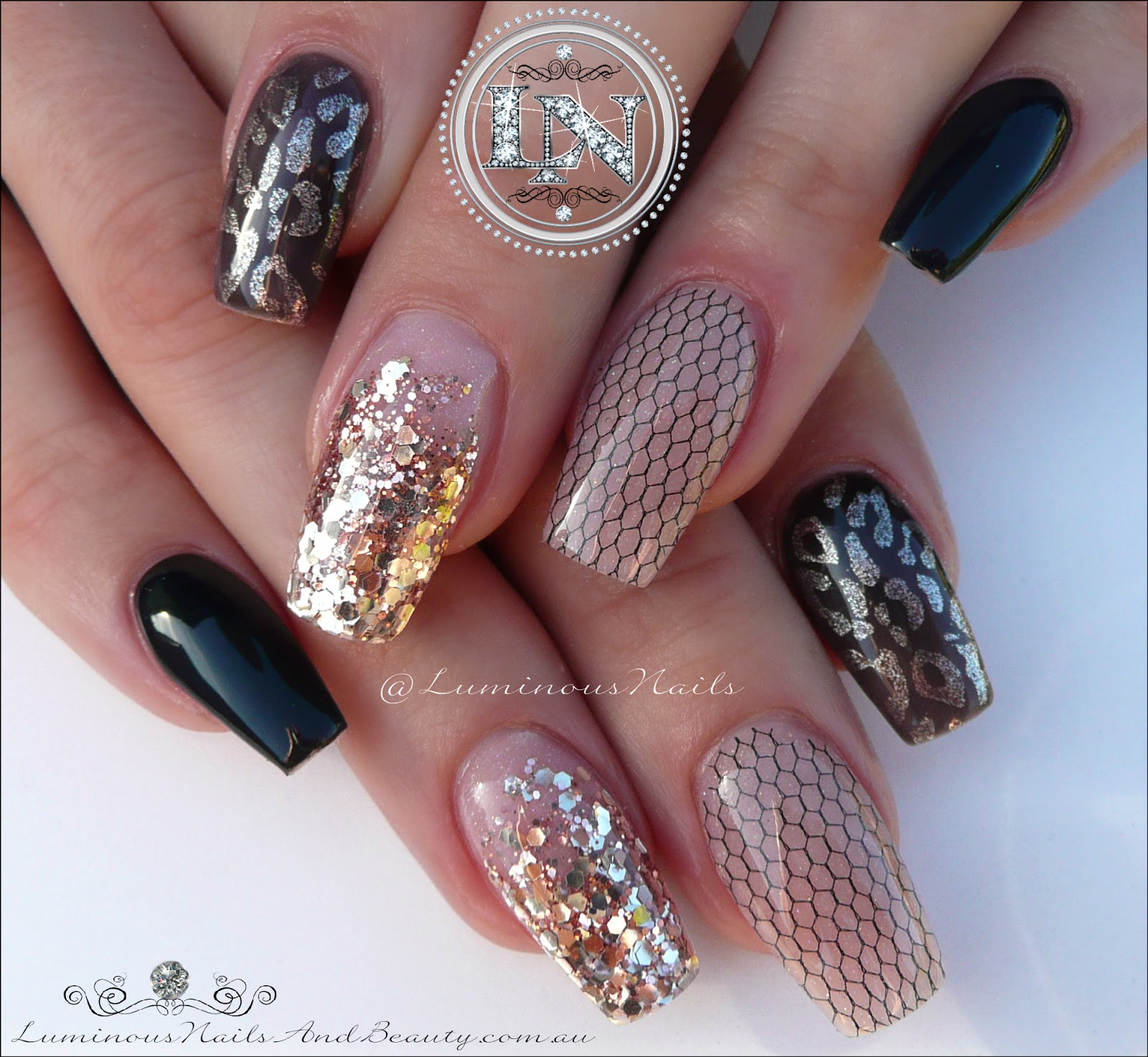 Luminous Nails: Black & Goldie Nude, Acrylic & Gel Nails.