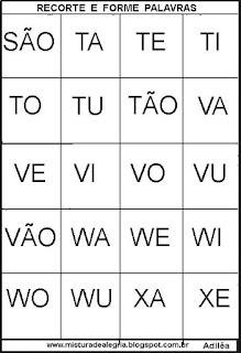 Fichas silábicas alfabetização