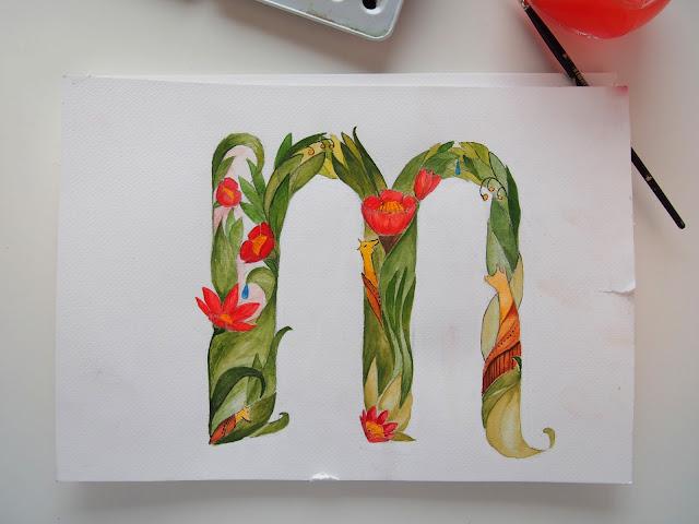maanantai etana. typografia, vesivärimaalaus