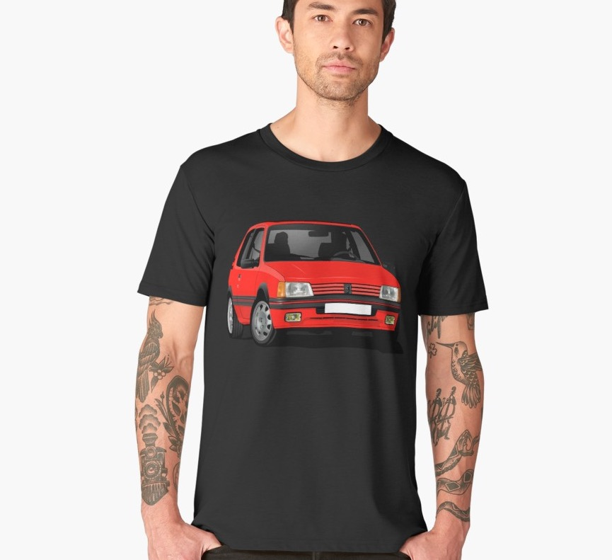 Cornering Peugeot 205 GTi in red - t-shirt