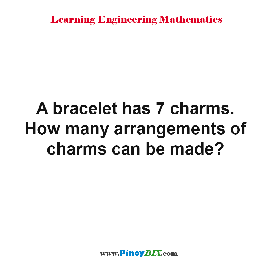 How many arrangements of charms can be made?