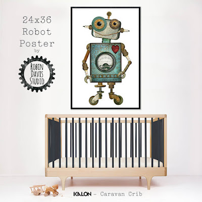 Jumbo Robot Wall Decor by Robin Davis Studio