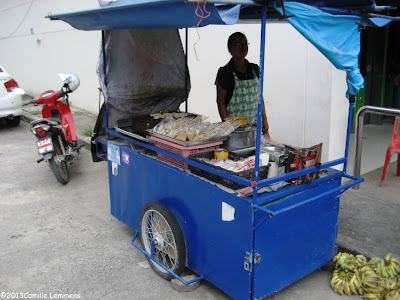 BBQ-ed banana; the pushcart