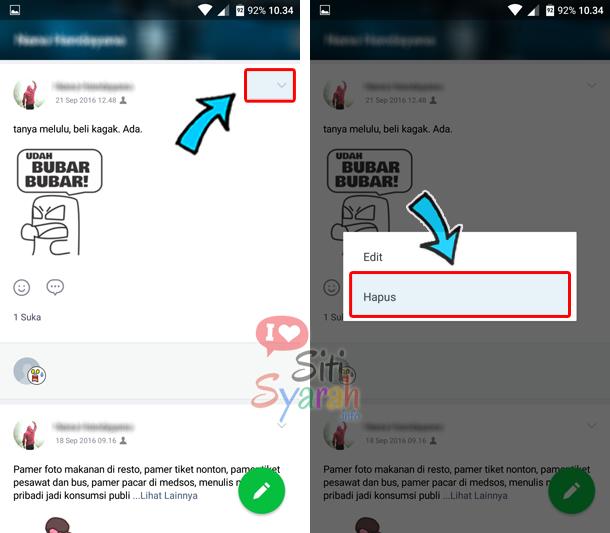 cara menghapus postingan timeline line
