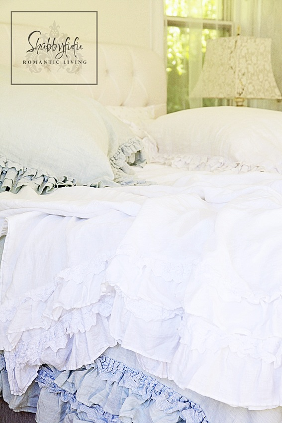 romantic room designs - soft white ruffled bed linenes