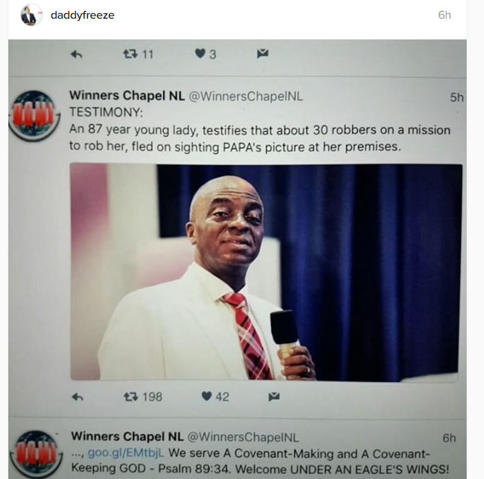 """30 armed robbers ran away after seeing pic of Bishop Oyedepo"":  Freeze reacts"