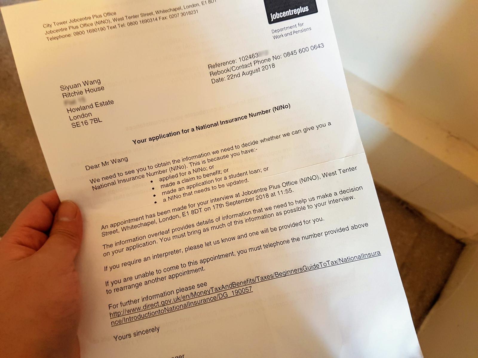 英國打工度假-工作稅務之必須。申請 National Insurance Number