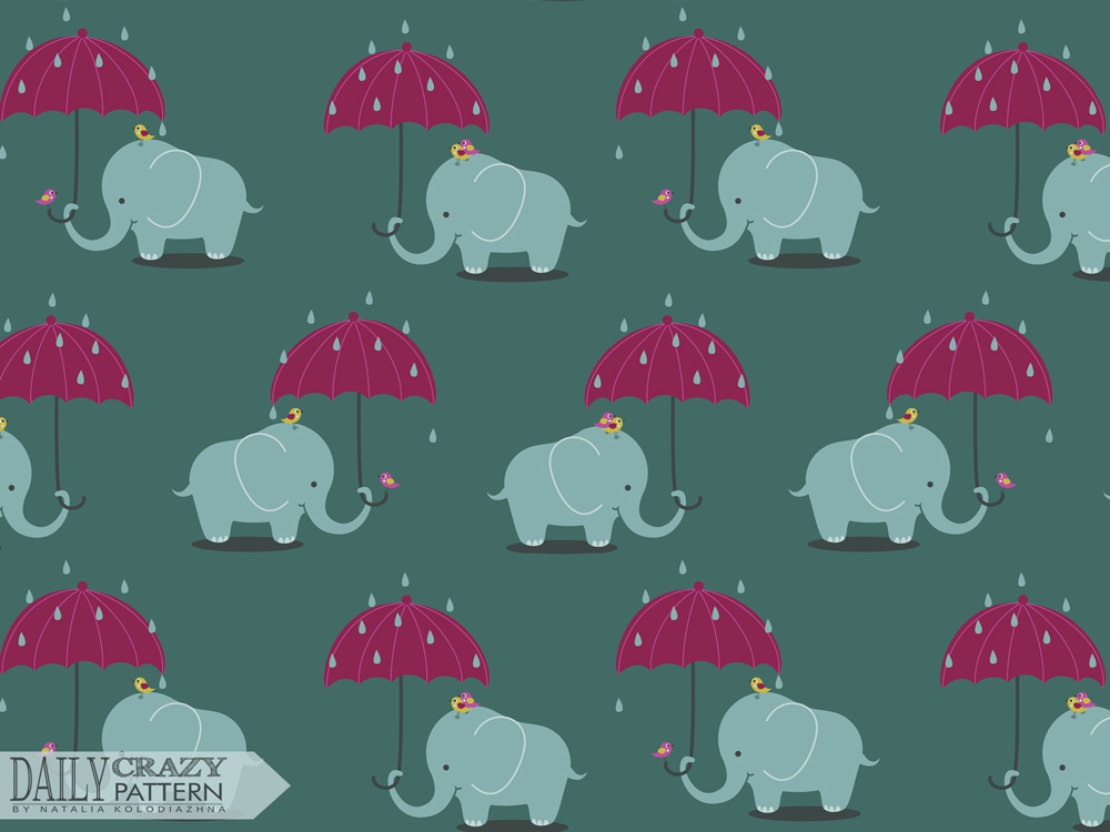"Elephant and rainy day, art print for ""Daily Crazy Pattern"" project"