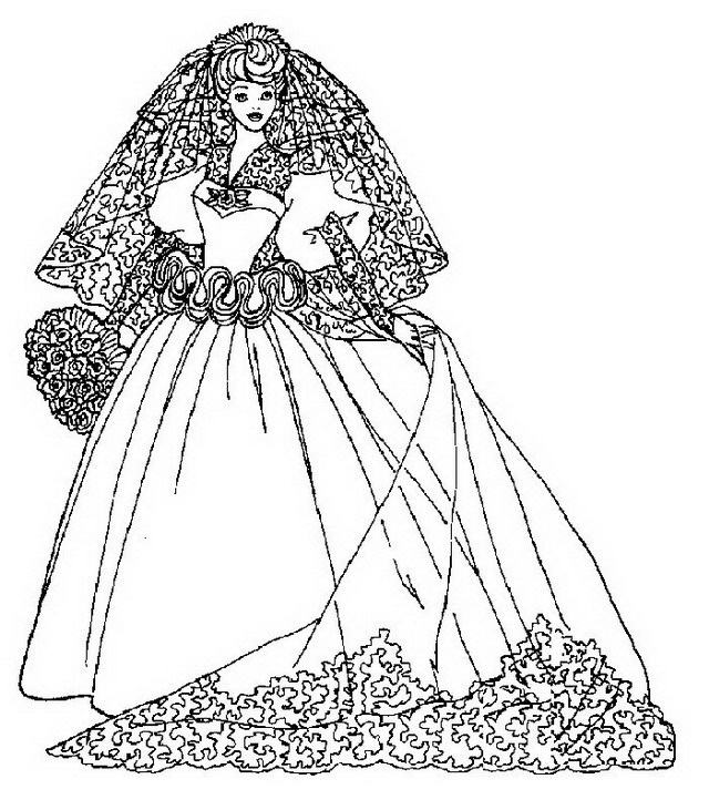 colorea tus dibujos: vestido de novia para colorear