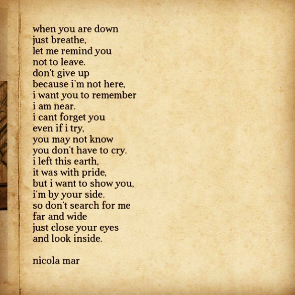 Poem By Nicola Mar For All Who Have Lost A Loved One