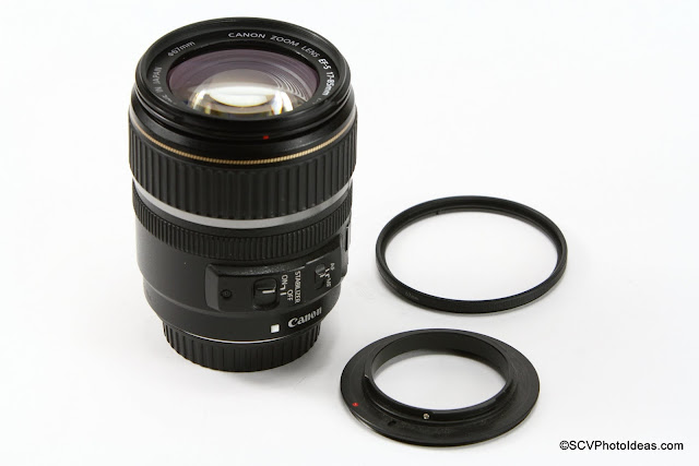 Canon EF-S 17-85 IS USM w 67mm Reverse Mount Adapter Ring aside