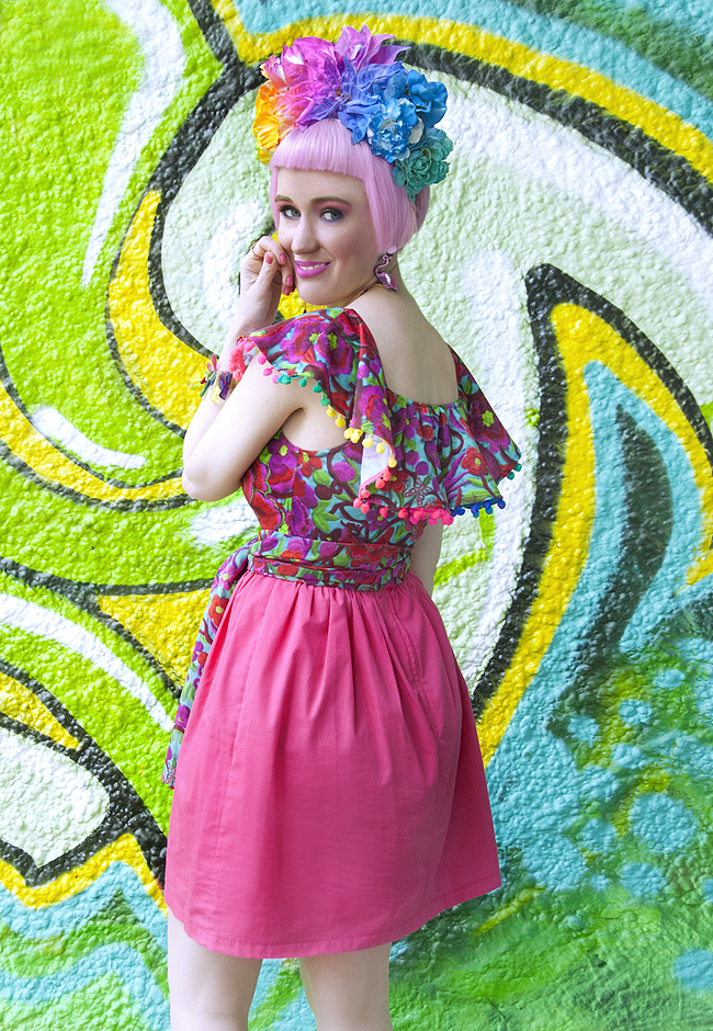 Frida Kahlo look, festival outfit, blogger summer style