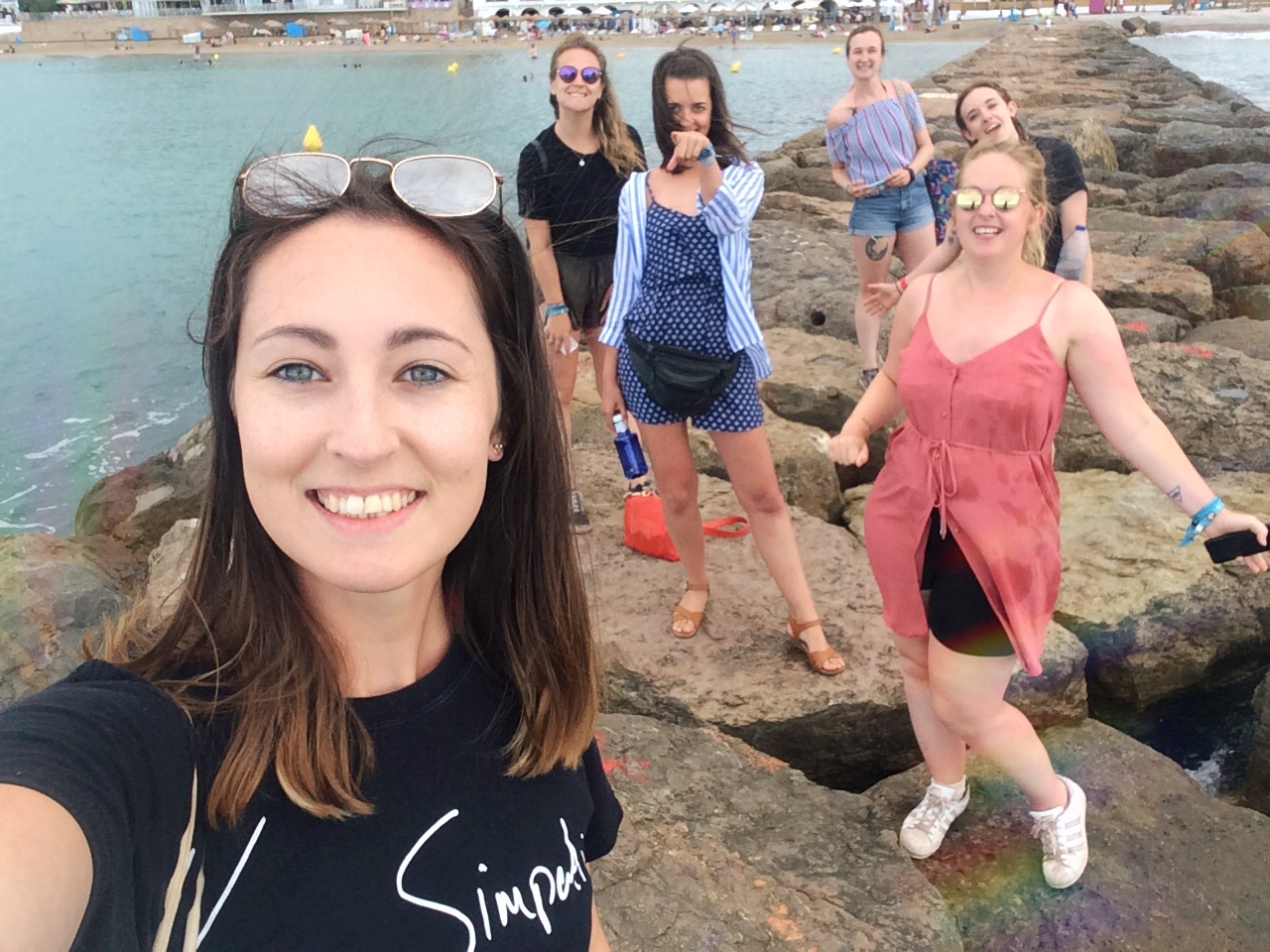 Group selfie by the sea