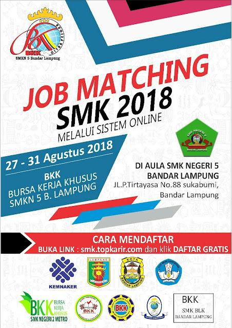 JOB MATCHING SMK 2018 MELALUI SISTEM ONLINE