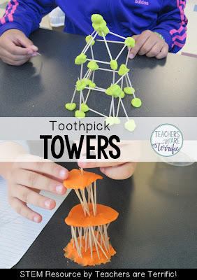 STEM Challenge: Using two materials students build a tower. Two different materials can be used for the connectors in this challenge- making it very versatile!