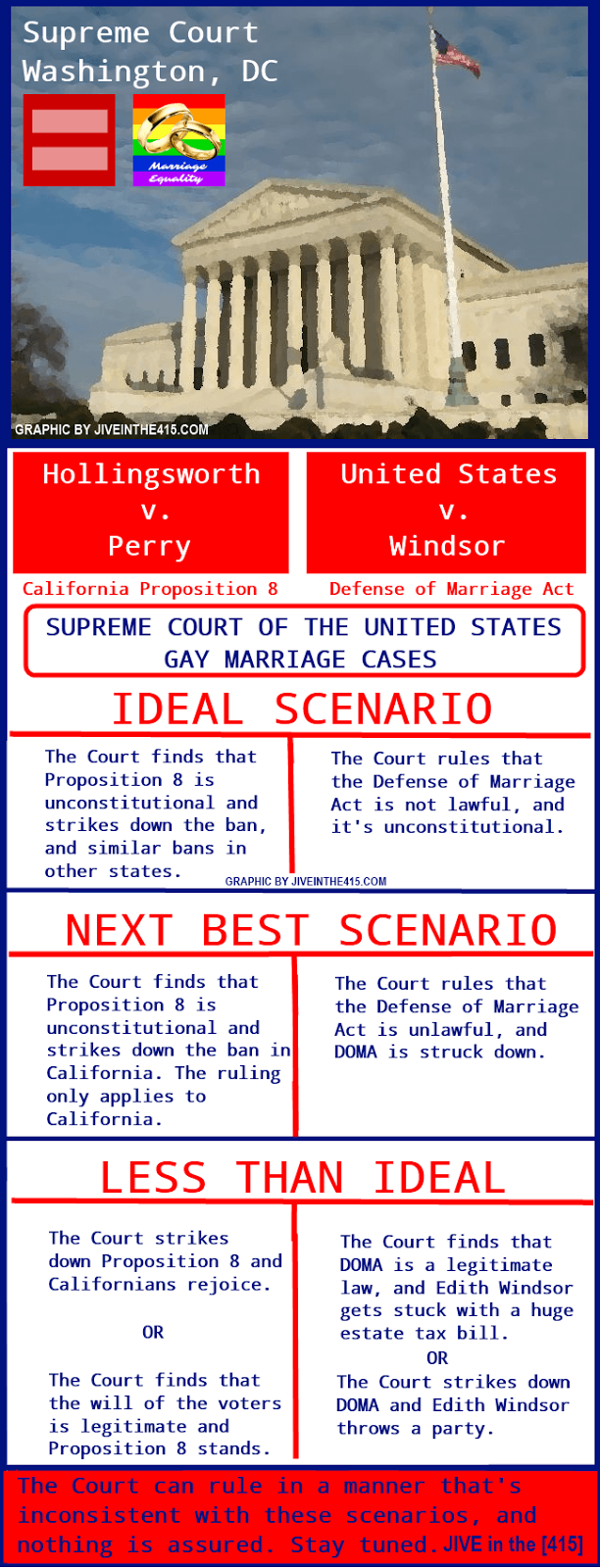A graphic representation of the 2 gay marriage cases pending before the US Supreme Court.
