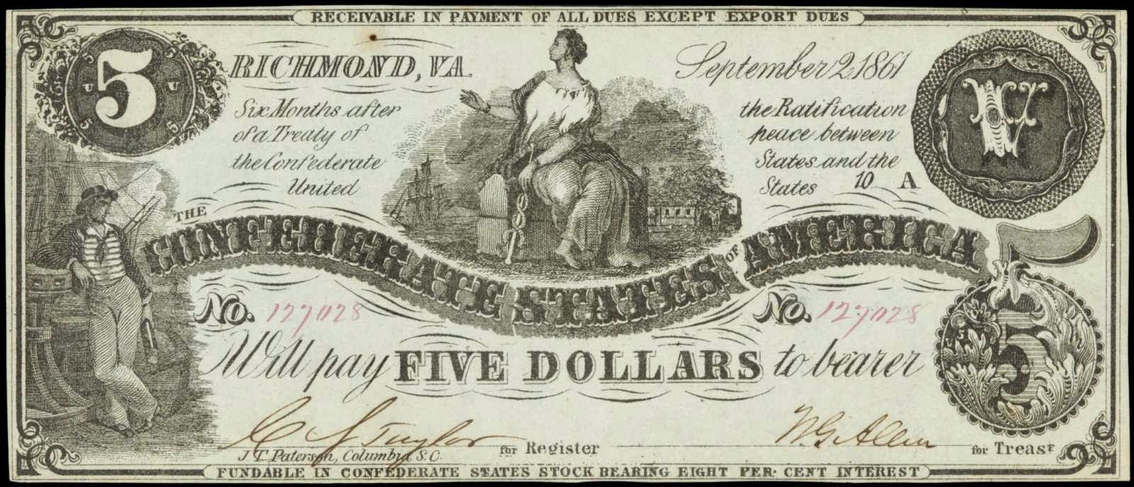 5 Dollar Bill Confederate States of America Currency 1861